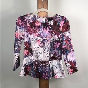 H&M abstract flower print blouse Top Size 4